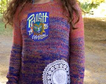 Phish Miami Colorful Knit Crochet Hippie Sweater Festival Sweater Eco Friendly Small/Medium