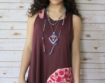 Maroon Flowy Mexican Floral Lace Embroidered Layering Tank Top Size Large Boho Bohemian Festival Boho Womens Clothing