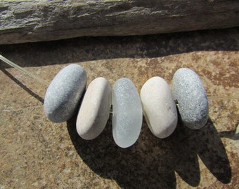 Natural STONE Beads And BEACH GLASS Lake Stone Sea Glass Beads Stone Supply
