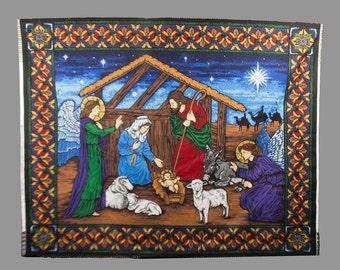 Cotton Christmas fabric, Manger scene panel, VIP for Cranston Print works Very detailed Angel Jesus, Mary Joseph, Edged in decorative border