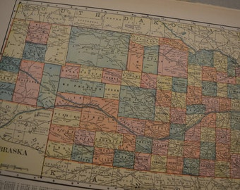 1904 State Map Nebraska - Vintage Antique Map Great for Framing 100 Years Old