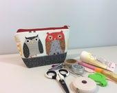 Notions Bag - Cute Owls Print