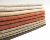"Felted Cashmere Wool Sweater Fabric Destash Scraps Bundle Craft Supplies Cutter Doll Making Fabric Tan Rust & Brown Ten 6"" x 8"" Pieces 82"