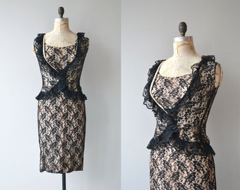 Grand Illusion dress | vintage 1950s dress | black lace 50s cocktail dress