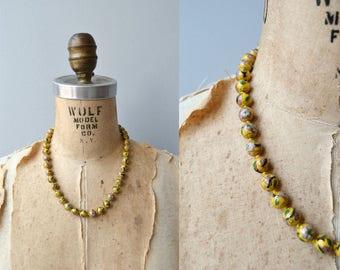 Cloisonne beaded necklace | vintage cloisonne necklace | yellow cloisonne beads
