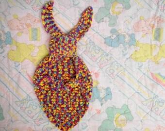 Hand Knit Bunny Blanket, Bunny Lovey, Security Blanket, Buddy Blanket, Easter Bunny, Chenille, Sprinkles