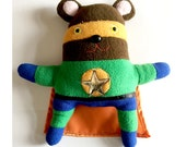 SALE Bear Super Hero plush, Recycled Fabric