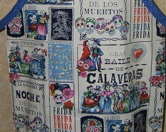 Apron Frida Kahlo sugar skull south western old Mexico sketches cinco de mayo day of the dead reversible adjustable cotton lined topstitched
