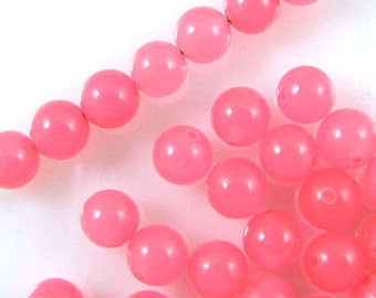Round Gemstone Beads-BRIGHT PINK Candy Jade 6mm (65)