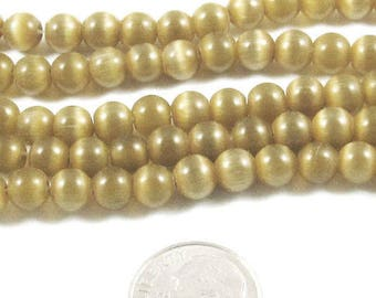 6mm Round Cat's Eye Beads-Golden Honey Tan (65 beads)