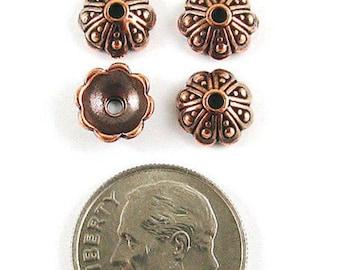 TierraCast Pewter Bead Caps-Antique Copper Oasis (4)