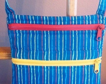 Blue with Colorful Stripes Cross-body/Hands-Free Purse/Hand Bag / Item # 24