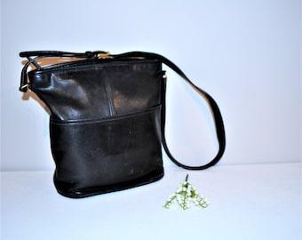 Vintage Black Coach Saddle Leather Bag