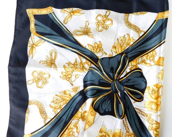 Vintage Cejon Accessories Made in Italy Poly Scarf , Stunning design , Black, Cream, and Gold with Optic Twist florish design, black bow