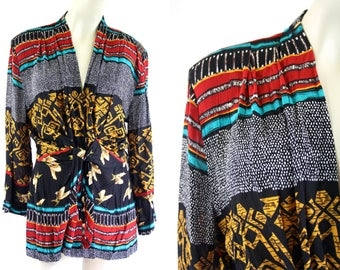Vintage 1990's ESSAY by Sharon Anthony Bold Tribal Style Print Faux Wrap Long Sleeve Rayon Tunic Length Woman's Retro Blouse