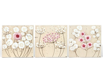 Girls Bedroom Art Decor - 3D Pink Flower Paintings on Set of 3 Canvases - Medium 32x10