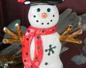 Lighted Snowman  Ceramic Snowman  With Cardinal - Night Light Lighted Snowman with base   ready to ship