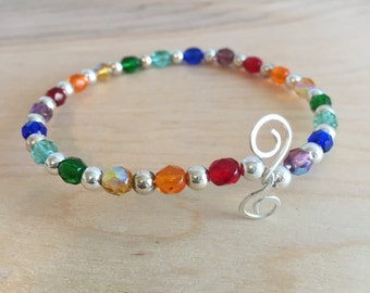 Rainbow and Silver Beaded Bangle Bracelet