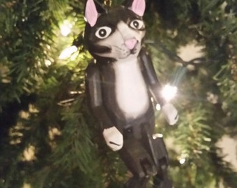 Hand Carved Cat Ornament, Puppet, or Shelf Sitter
