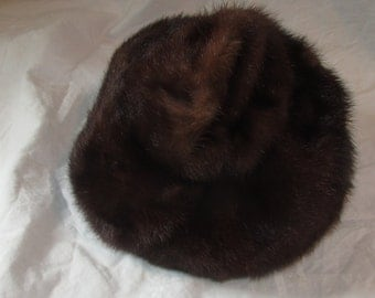 Marcelle Originals Mink Hat Fur Hat Vintage Mink Cap Brown Fur Cap Vintage Winter Hat