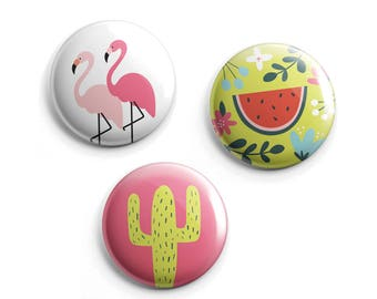 Pack of 3 Summer Pin Buttons - Flamingo Pin, Watermelon Pin, Cactus Pin
