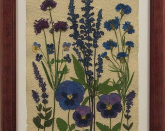 Blue Flowers with Red Wood Frame