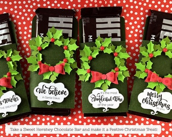 KIT Christmas Hershey Candy Bar Wrap Wreath / Candy Bar Wrappers /Stocking Stuffers / Teacher Appreciation/ Classroom Treat / Party favors