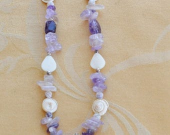 """On sale Beautiful Handmade Amethyst, Multi-colored Large Shell Pendant Necklace, 22""""-24-1/2"""""""