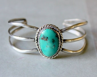 Navajo STERLING Silver Turquoise Cuff Bracelet Vintage Native American