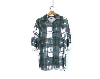 Plaid Long Sleeve Shirt Long Underwear Top Green Blue & White Button Down Grunge Long Button Front Basic Thermal Shirt Vintage Size Large