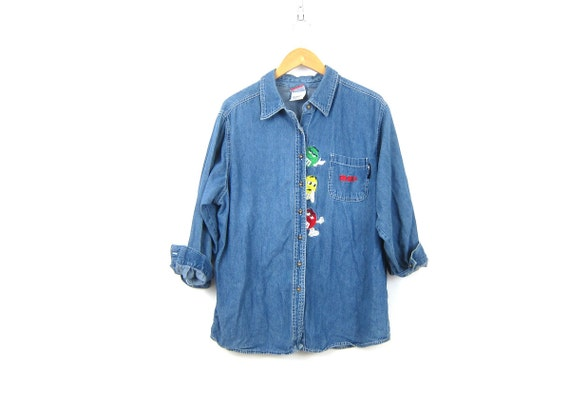 90s Jean Shirt M&Ms Denim Shirt Button Up Jean Collar Pocket Shirt Womens Plus Size 18 20W XL