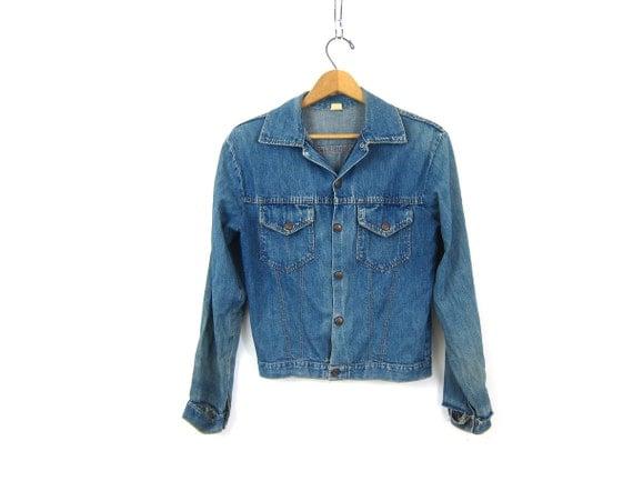 Distressed Vintage Denim Trucker Jacket Vintage Hipster Jean Jacket Cropped denim jacket Destroyed Jean Jacket Womens Small