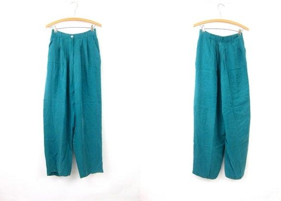 Turquoise Green SILK Lounge Pants High Waist 90s Elastic Waist Wide Leg Dress Slacks Vacation Resort Womens size 10 Medium