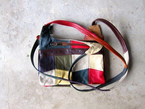 Vintage 80s Leather Patchwork Purse Blue Red Green Retro Shoulder Bag Boho Bohemian Patch Purse 70s Womens Cross Body Bag Purse