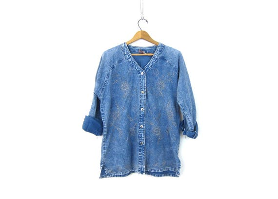 vintage acid wash Shirt denim jean Tunic Shirt Oversized Loose Button Down Top Beaded Floral Embroidery Women's Size Large