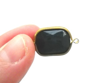 Brass Channel Set Faceted Black Acrylic 2 Loop Charms, Black Connector Rivoli beads 5
