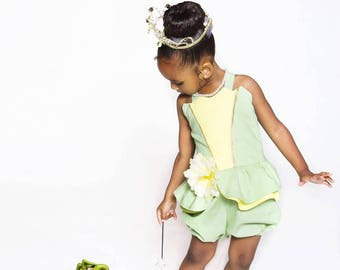 Disney Inspired Princess Tiana Romper for Infants and Toddlers size newborn to size 6 girls Princess and the frog Birthday