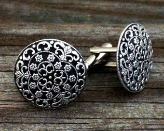 Pirate Silversmith Metal Cufflinks | Men's Cuff Links | Gifts For Him | Gothic Victorian Steampunk Cuff Links | by Treasure Cast Pewter