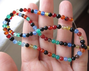 Multi Color Agate, 4mm Round Beads