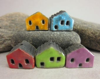 5 Raku House Beads...Yellow Turquoise Blue Red Green Purple