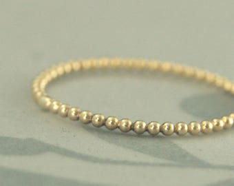 Tiniest Gold Bubble Band--Thin Gold Ring--Thin Gold Band--Gold Beaded Band--Gold Stacking Ring--Gold Beaded Ring--Bubble Ring--Thin Stacker