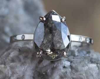 Natural Black Rose Cut Diamond Ring with Pavé Diamond Band