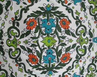 Vintage Graphic Floral Print Fabric Teal Lime Olive Orange