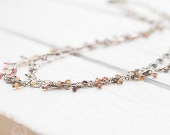 Multi Sapphire three strand necklace