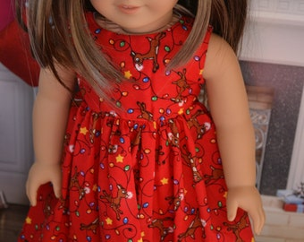 18 inch Doll Clothes - Christmas Dress - Reindeer Games - red brown yellow purple green - fits American Girl
