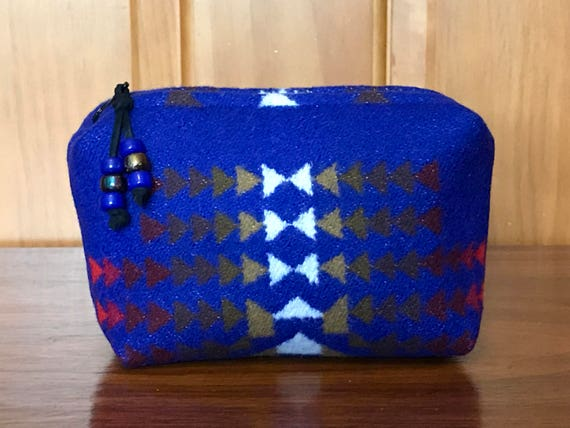 Cosmetic Bag / Makeup Bag / Zippered Pouch Small Sapphire Chief Joseph