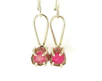 Watermelon Tourmaline Raw Crystal Earrings - Rough Tourmaline Dangles