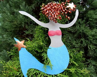Mermaid Christmas Tree Topper Recycled Metal Tree Ornament Sculpture Turquoise Beach House Coastal Decor Tree Topper Red Head
