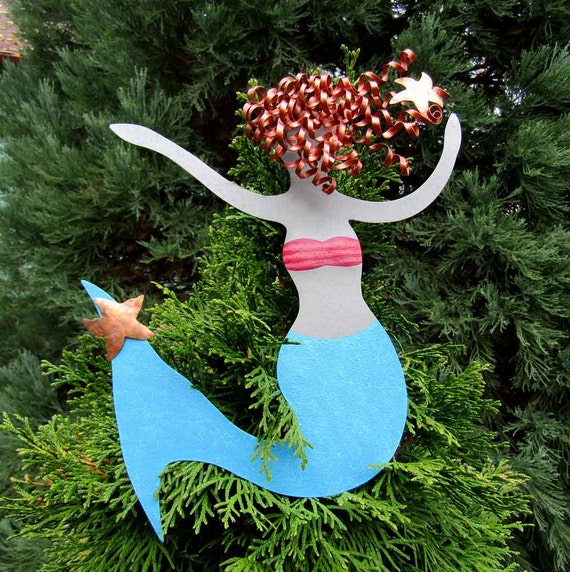mermaid christmas tree topper recycled metal tree ornament. Black Bedroom Furniture Sets. Home Design Ideas