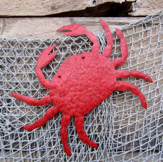 Metal Wall Art Crab Sculpture Sea Life beach House Coastal Decor  Indoor Outdoor Bathroom Art Red Orange 11 x 13